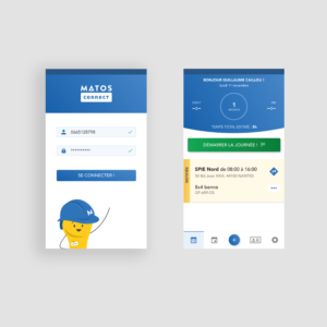 Application mobile MATOS - connexion et page d'accueil